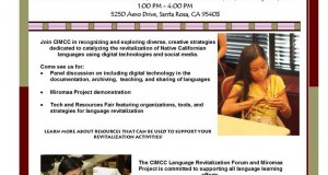 Flyer for language revitalization forum digital tech tools talk event