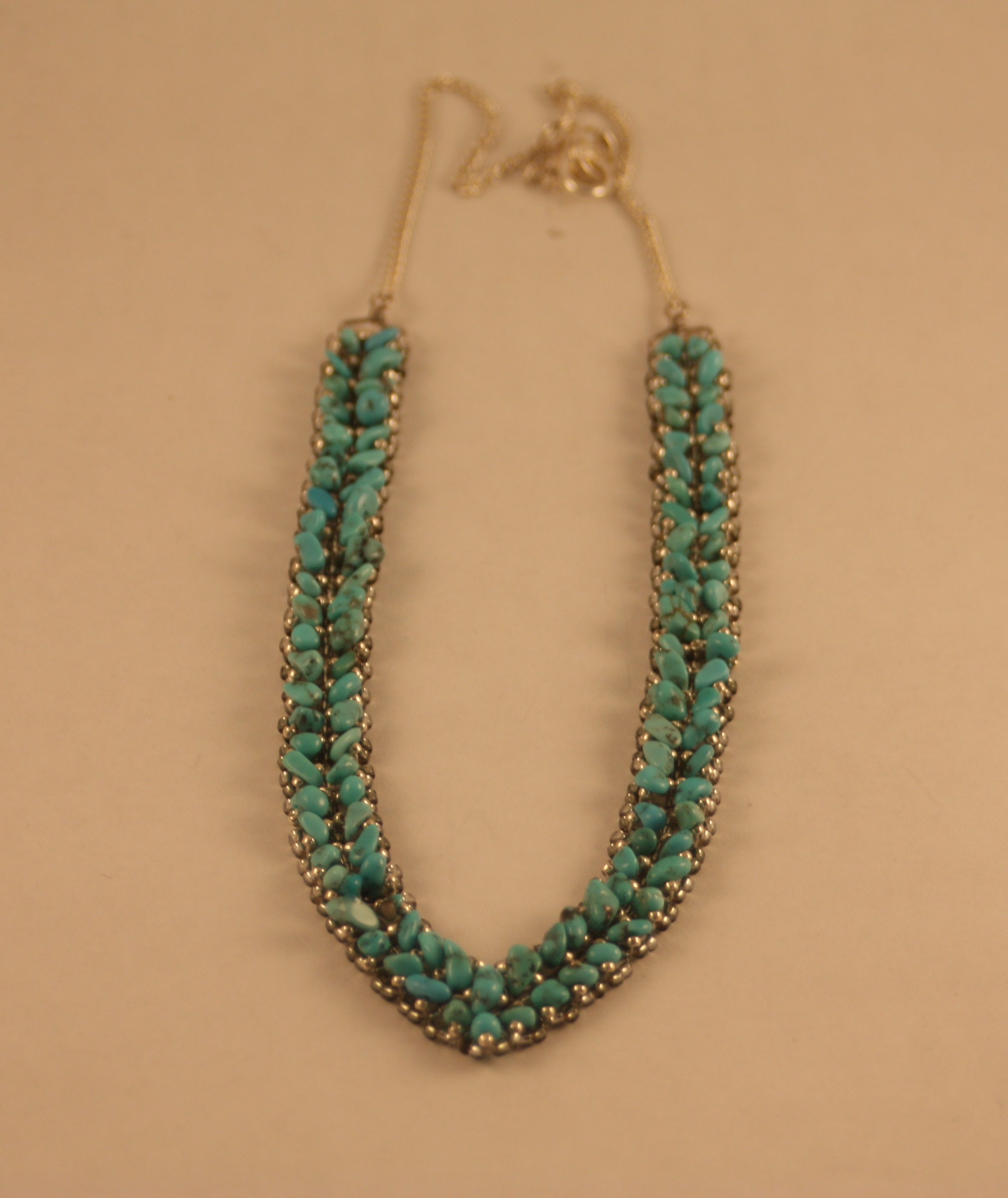 Beaded Diamond: Alonzo John Beaded Necklace Diamond Point Turqoise