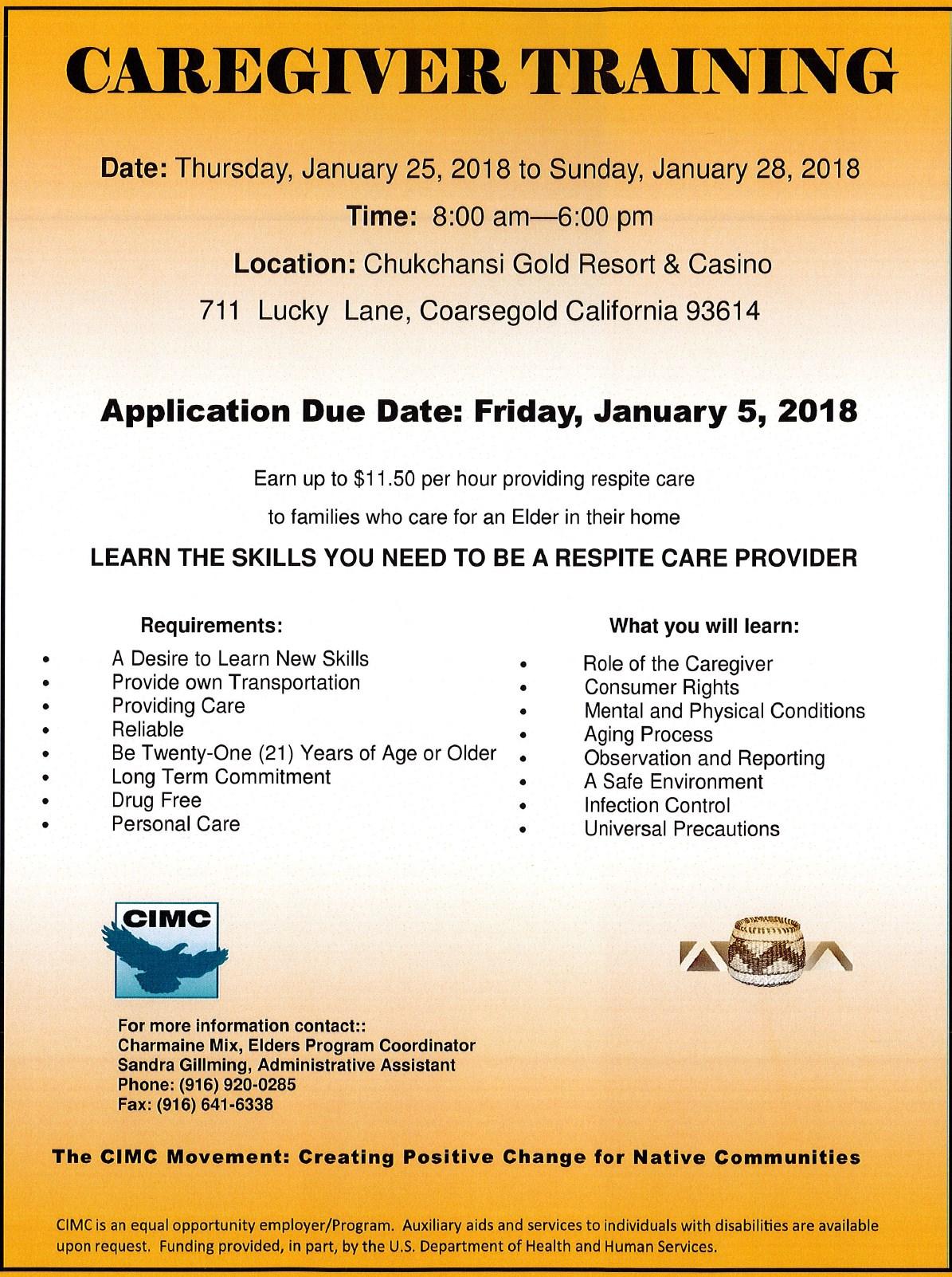 2018-California Indian Manpower Consortium-Caregivers Training 2018